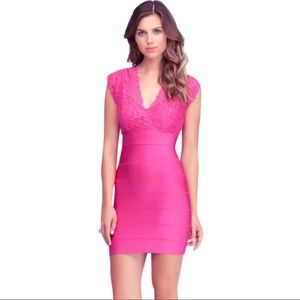 Bebe Hot Pink Lace Twofer Bandage Dress